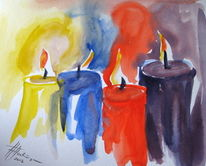Acrylmalerei, Licht, Weihnachten, Stimmung