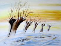 Winter, Weiß, Abendstimmung, Schnee