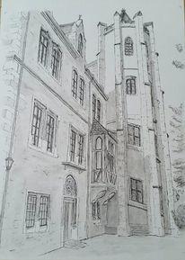 Tinte, Schloss mansfeld, Aquarellmalerei, Zeichnung