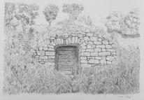 Zeichnung, Weinberg, Kugelschreiber, Keller