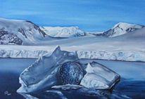 Winterlandschaft, Eisberg, Wasser, Glas