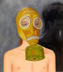 Junge, Endzeit, Gasmaske, Malerei