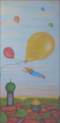 Traum, Fliegen, Luftballon, Wolken