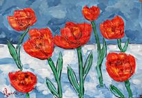 Malerei, Blumen, Schnee