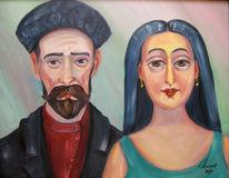 Malerei, Portrait, Doppelt