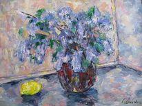 Malerei, Flieder, Zitrone