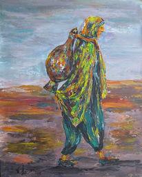 Malerei, Menschen, Krug, Frau