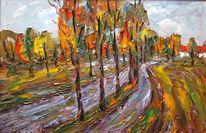 Malerei, Herbst, Regen