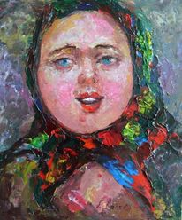 Malerei, Menschen, Jung, Frau