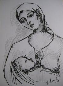 Zeichnungen, Skizze, Mutter, Kind