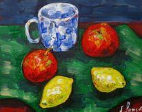 Malerei, Blau, Tasse