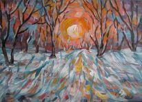 Malerei, Winterlich, Untergang