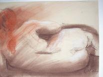 Liegend, Rotes haar, Rückenakt, Pastellmalerei