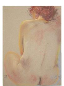Rotes haar, Rückenakt, Pastellmalerei, Akt