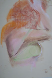 Akt, Pastellmalerei, Grünes kleid, Rotes haar
