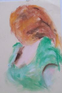 Pastellmalerei, Grünes kleid, Rotes haar