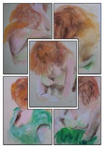 Grünes kleid, Rotes haar, Zeichnungen