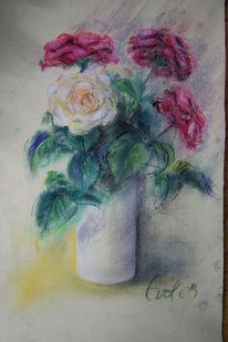 Pastellmalerei, Rose, Vase, Frisch