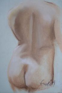 Licht, Rückenakt, Schatten, Pastellmalerei