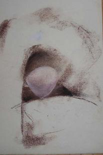 Gebeugte, Brust, Pittkreide, Pastellmalerei