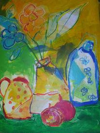 Blumen, Früchte, Vase, Malerei