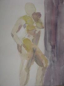 Aquarellmalerei, Frau, Akt, Malerei