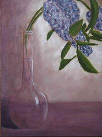 Vase, Blumen, Weiß, Lila