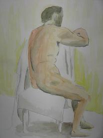 Akt aquarell mann, Akt, Mann, Aquarellmalerei