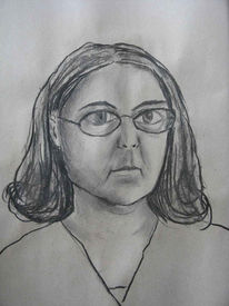 Schwarz, Frau, Zeichnung, Kohlezeichnung