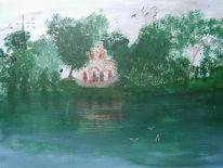 Biebrich, Landschaft, Acrylmalerei, Schloss