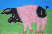 Angler, Sattelschwein, Tierportrait, Malerei