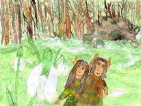 Waldschelme, Aquarellmalerei, Schneeglöckchen, Aquarell