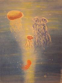 Licht, Meer, Qualle, Acrylmalerei