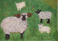 Tiere, Schaf, Acrylmalerei, Malerei