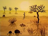 Afrika, Wüste, Acrylmalerei, Steppe