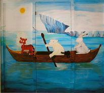 Kinder, Landschaft, Kleinereisbär, Wandmalerei