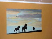 Schatten, Himmel, Silhouette, Pferde
