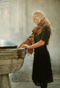 Junge frau, Hände, Kirche, Wasser