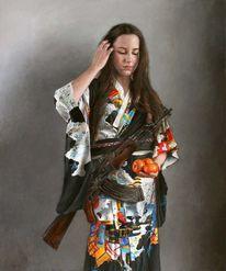 Maschinengewehr, Ölmalerei, Frau, Waffe