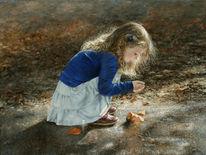Blätter, Kind, Mädchen, Haare