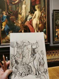 Zeichnung, Gemäldestudie, Alte meister, Skizze