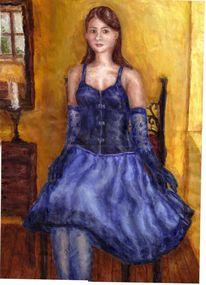 Junge, Blau, Kleid, Frau
