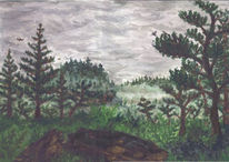 Nebel, Wald, Malerei