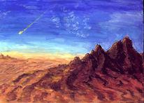 Wüste, Berge, Meteor, Malerei