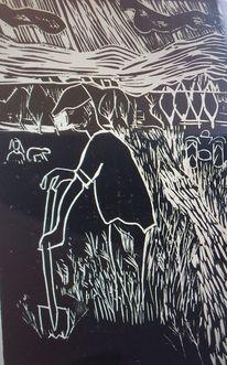 Landarbeit, Linoldruck, Bauer, Druckgrafik