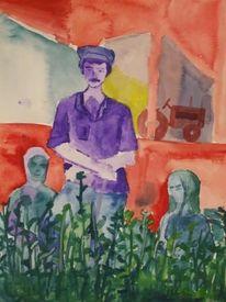 Bauer, Bäuerin, Feld, Malerei