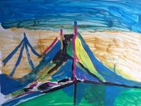 Acrylmalerei, Brücke, Malerei,