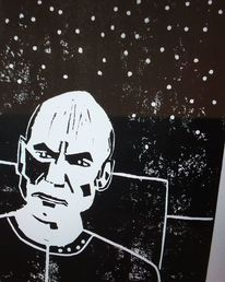 Linoldruck, Enterprise, Captain picard, Druckgrafik
