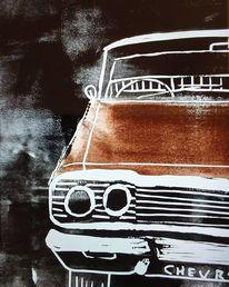 Auto, Oldtimer, Chevrolet, Linoldruck