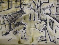 Straße, Istanbul, Malerei